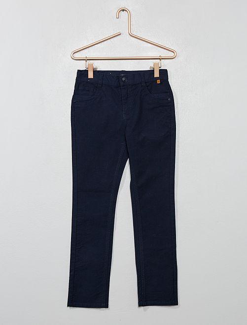 Pantalón slim de algodón elástico con textura                                         azul Chico