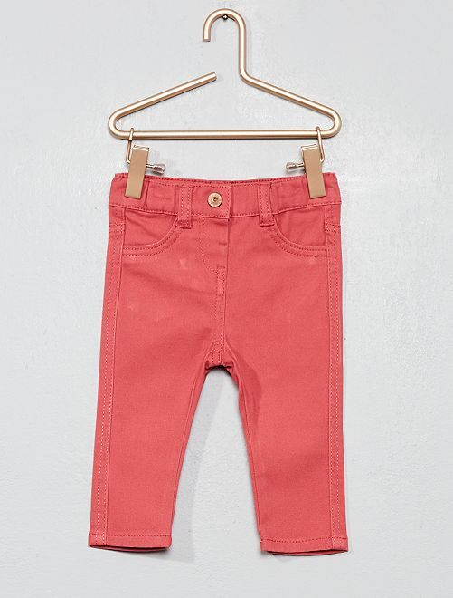 Pantalón slim de algodón elástico                                                     rosa Bebé niña