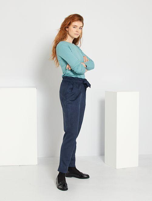 Pantalón slim de antelina                                                                 azul