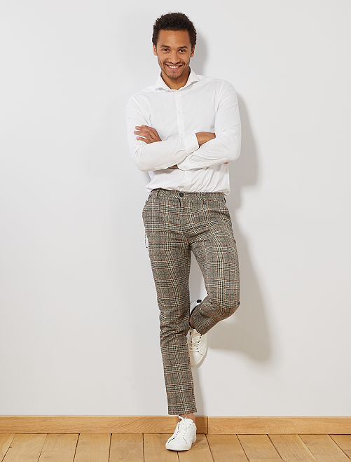 Pantalón slim de efecto lana de cuadros                             MARRON