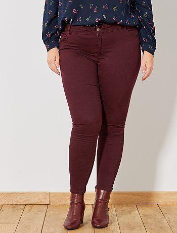 Tallas grandes mujer - Pantalón slim de gabardina elástica - Kiabi 9b3962bb6e88