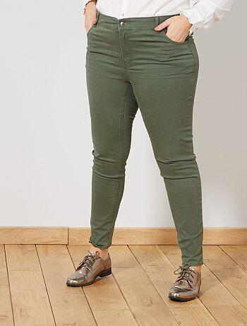 Tallas grandes mujer - Pantalón slim de gabardina elástica - Kiabi