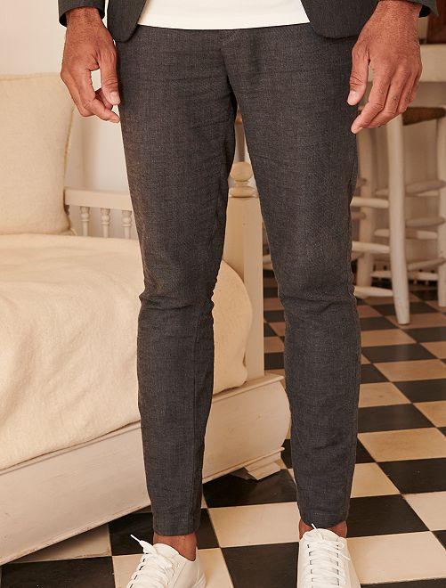 Pantalón slim de lino y algodón                             GRIS