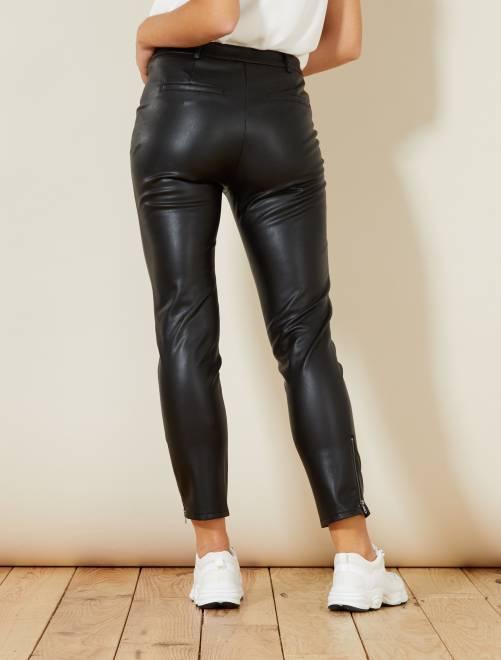5ea700f60 Pantalón slim de piel sintética Mujer talla 34 a 48 - negro - Kiabi ...