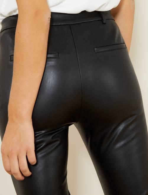 a09a638423 Pantalón slim de piel sintética Mujer talla 34 a 48 - negro - Kiabi ...