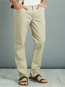 Hombre Pantalón slim de piqué de algodón elástico