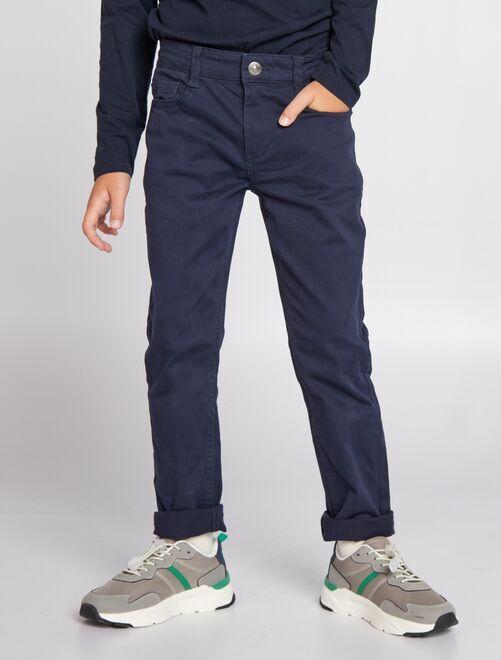 Pantalón slim de sarga 'eco-concepción'                                                                                                                             azul