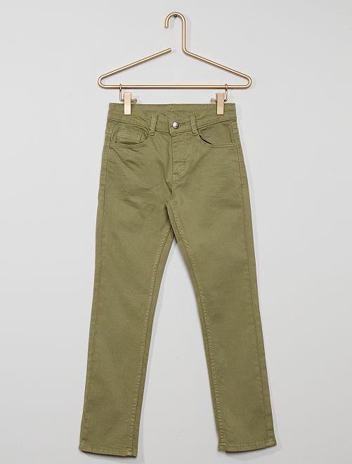 Pantalón slim de sarga 'eco-concepción'                                                                                                                                         caqui claro
