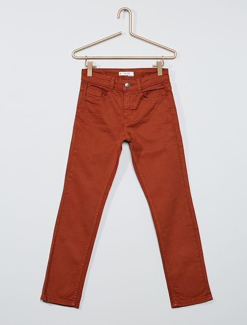 Pantalón slim de sarga 'eco-concepción'                                                                 MARRON