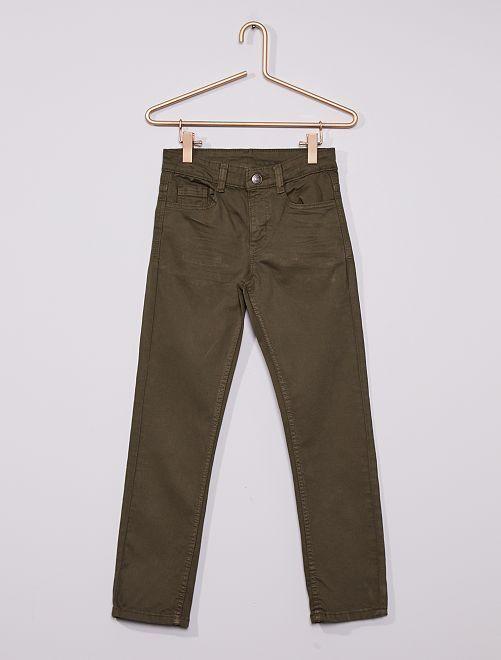 Pantalón slim de sarga 'eco-concepción'                                                                                                                                         verde oscuro