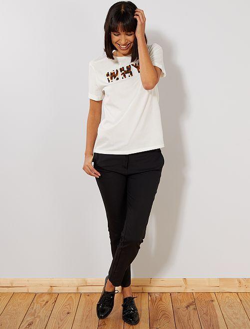 Pantalón slim de talle alto                                                     negro Mujer talla 34 a 48