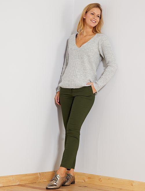 Pantalón slim de talle alto                                 verde selva Mujer talla 34 a 48