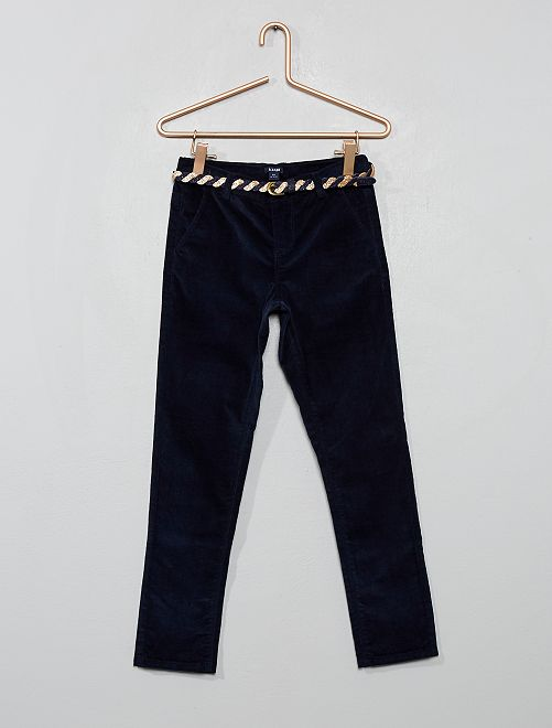 Pantalón slim de terciopelo + cinturón                                         AZUL