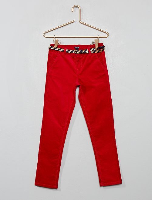 Pantalón slim de terciopelo + cinturón                                         rojo grosella