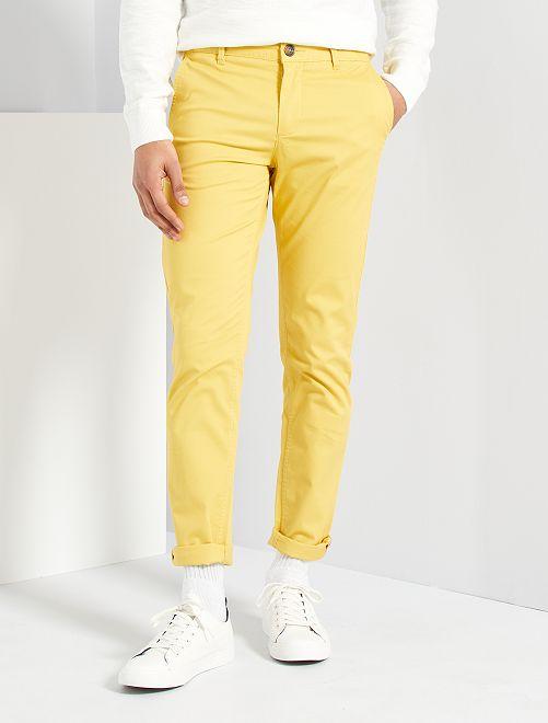 Pantalón slim eco-concepción                                                                                                                                                                                                                                                                                                                                                                                         amarillo anaranjado