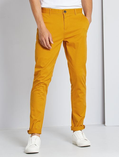 Pantalón slim eco-concepción                                                                                                                                                                                                                                                     AMARILLO