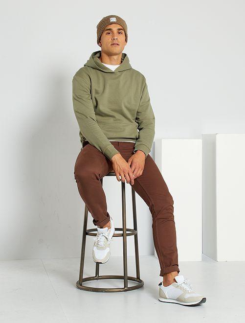 Pantalón slim eco-concepción                                                                                                                                                                                                                                                                                                                                                                                         castaño oscuro
