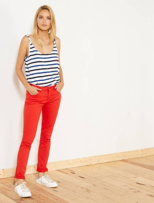 Pantalón slim elástico con 5 bolsillos                                                                                                                                         rojo Mujer talla 34 a 48