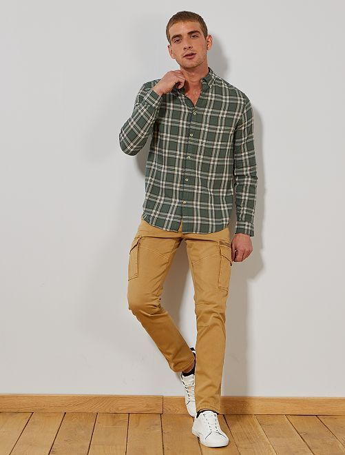 Pantalón slim estilo cargo                                                     BEIGE