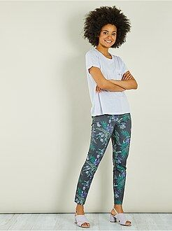Pantalones slim - Pantalón slim fit de flores - Kiabi