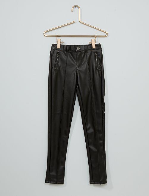 Pantalón slim sintético                             negro