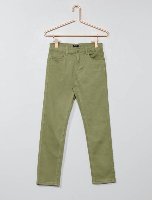 Pantalón slim                                                                                                                                         verde liquen Chica