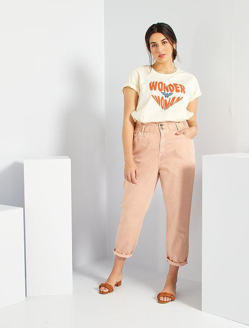 Pantalón slouchy de sarga                                                     ROSA