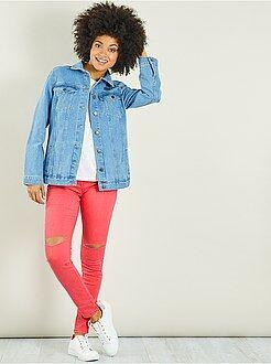 Mujer - Pantalón super skinny con desgarros en las rodillas - Kiabi