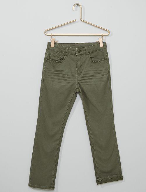Pantalón super skinny elástico niño tallas +                                                                 verde oscuro