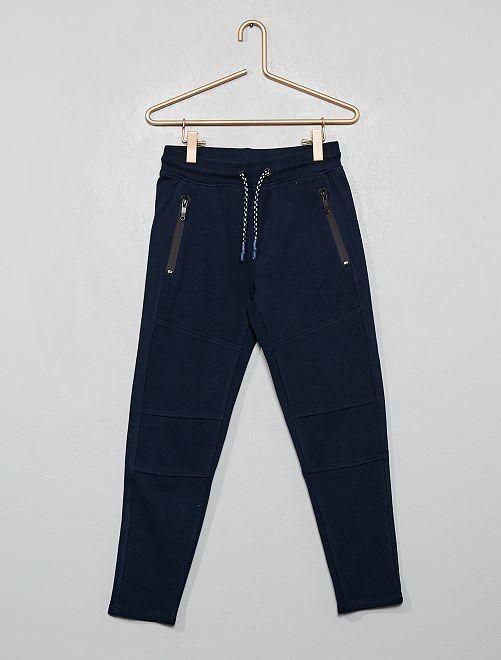 Pantalón tipo jogging de piqué de felpa                                                                 azul