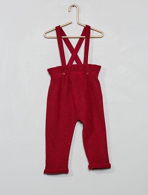 Pantalón tipo sarouel con tirantes                                         rojo oscuro