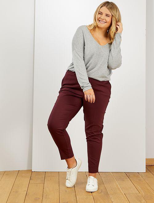 Pantalón tobillero de raso de algodón                                                                             rojo