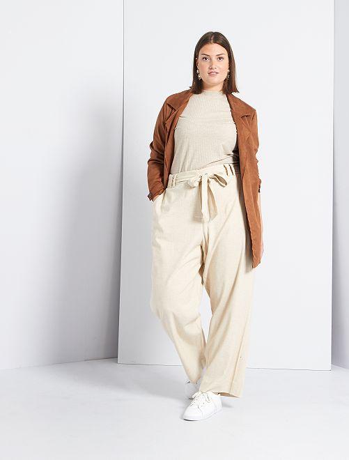 Pantalón vaporoso                             BEIGE