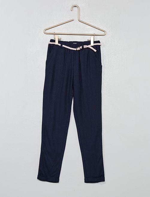 Pantalón vaporoso + cinturón                                                                                         azul Chica