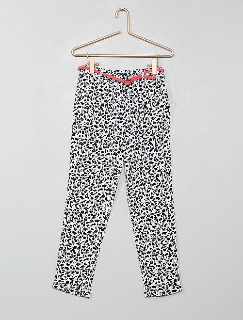 Pantalón vaporoso + cinturón                                                                                         BLANCO Chica