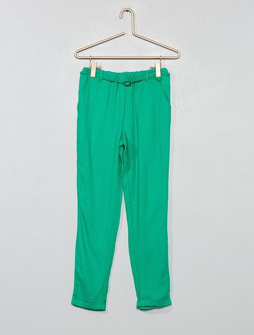 Pantalón vaporoso + cinturón                                 VERDE