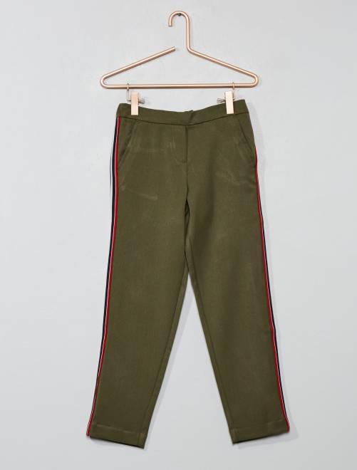 Pantalón vaporoso con bandas                             KAKI