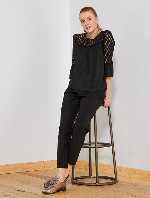 Pantalón vaporoso con cintura elástica                                         negro Mujer talla 34 a 48