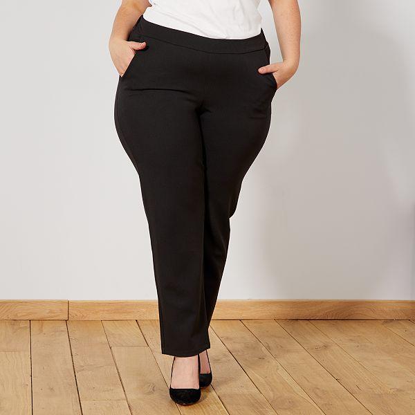 Pantalon Vaporoso Con Cintura Elastica Tallas Grandes Mujer Negro Kiabi 20 00