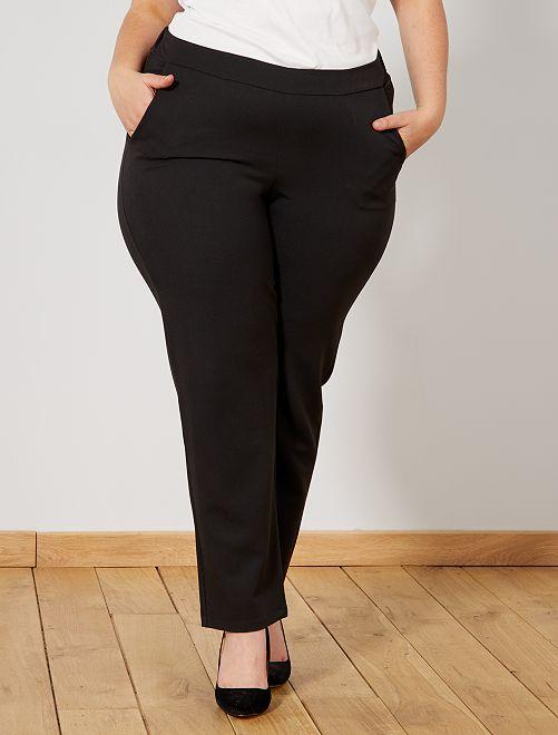 Pantalón vaporoso con cintura elástica                             negro
