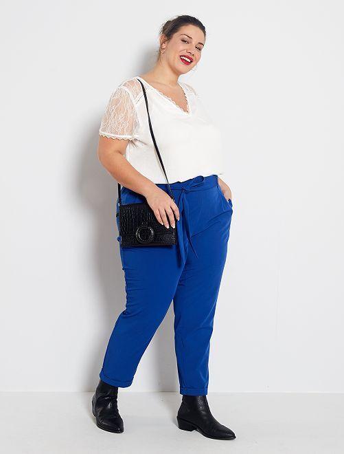 Pantalón vaporoso con cinturón                                         azul