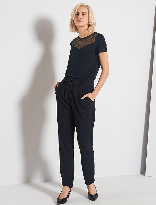 Pantalón vaporoso con cinturón                                         negro