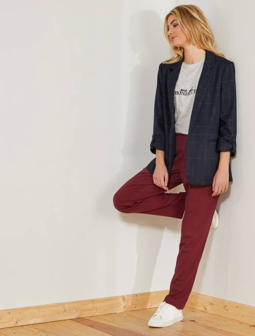 Pantalón vaporoso con pinzas                                                                 bordeaux Mujer talla 34 a 48