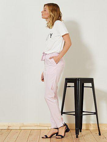 Mujer talla 34 to 48 - Pantalón vaporoso con pinzas - Kiabi