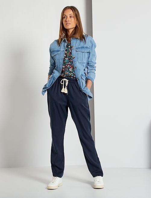 Pantalón vaporoso de lyocell                                                     azul