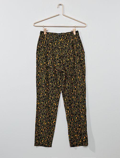 Pantalón vaporoso estampado                                         KAKI