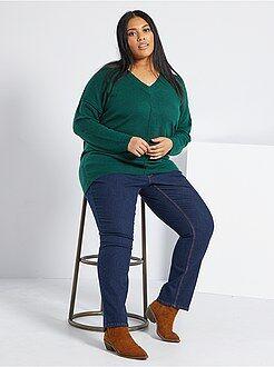 Tallas grandes mujer Pantalón vaquero elástico largo 75 cm