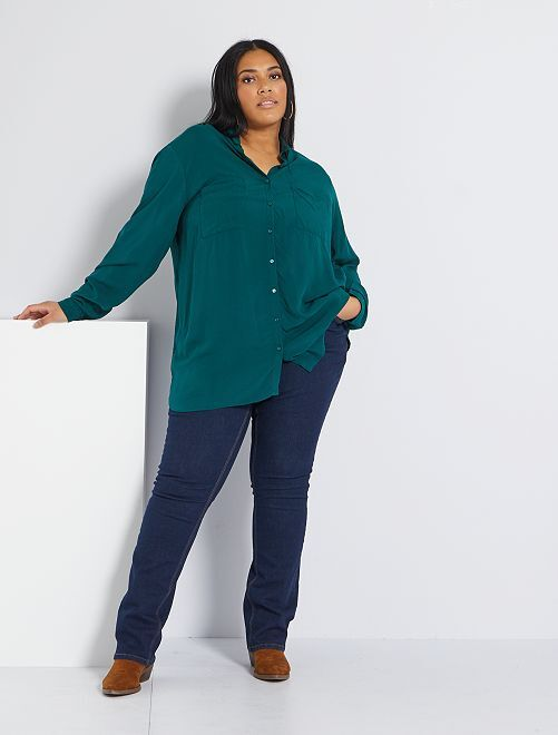 Pantalón vaquero elástico largo 82 cm                                                     azul Tallas grandes mujer