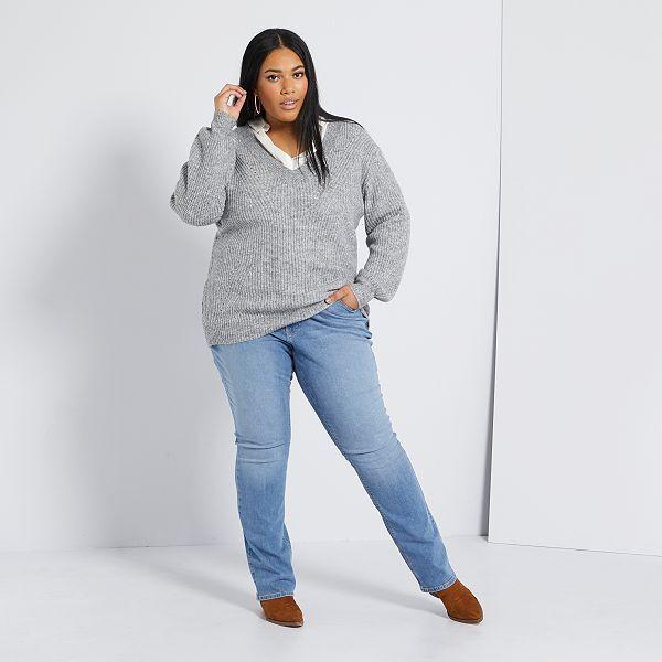 Pantalon Vaquero Elastico Largo 82 Cm Tallas Grandes Mujer Azul Kiabi 19 00