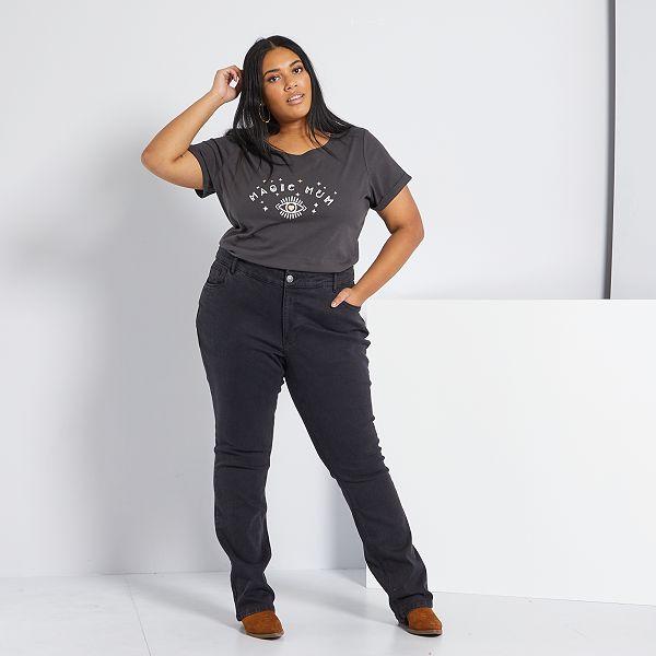 Pantalon Vaquero Elastico Largo 82 Cm Tallas Grandes Mujer Denim Black Kiabi 19 00